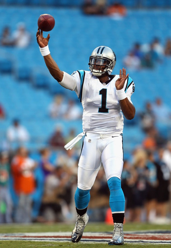 Cam Newton wearing Under Armour Highlight