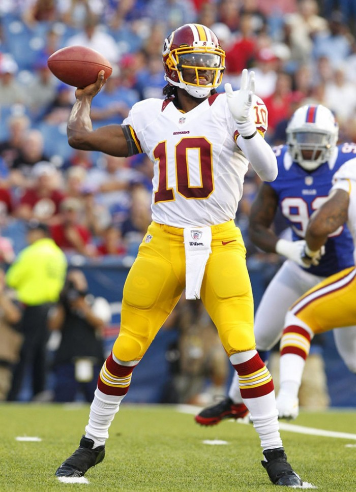Robert Griffin III RG3 wearing adidas adiZero 5-Star Mid Blackout