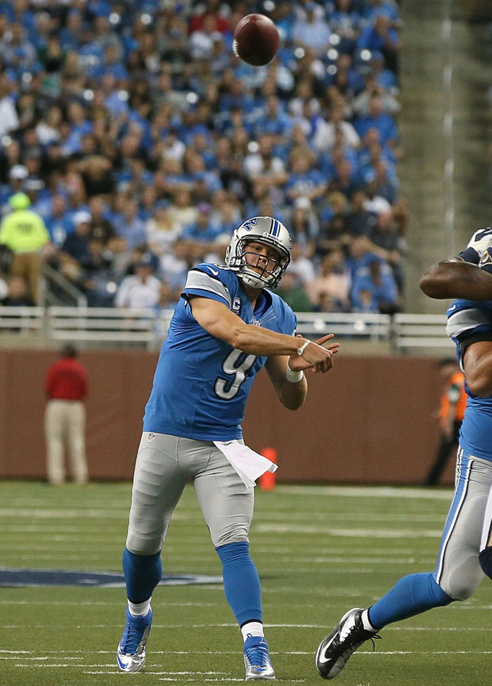Matthew Stafford wearing Nike Lunar Superbad Pro TD