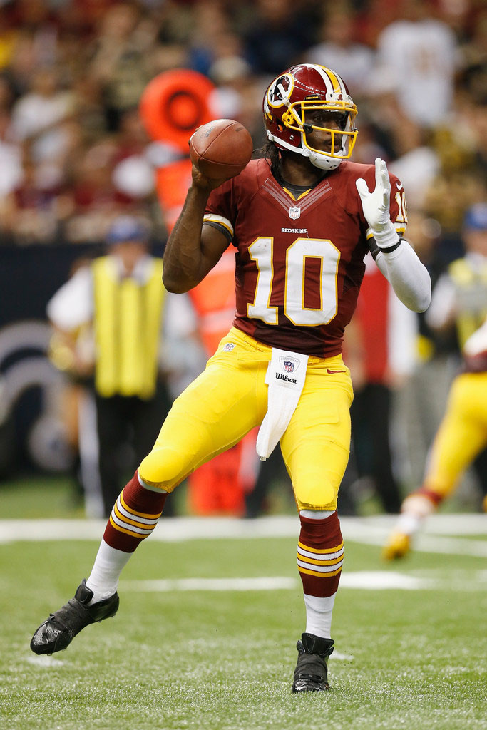Robert Griffin III wearing adidas adiZero 5-Star Mid Blackout (1)