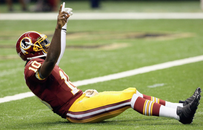 Robert Griffin III wearing adidas adiZero 5-Star Mid Blackout (2)