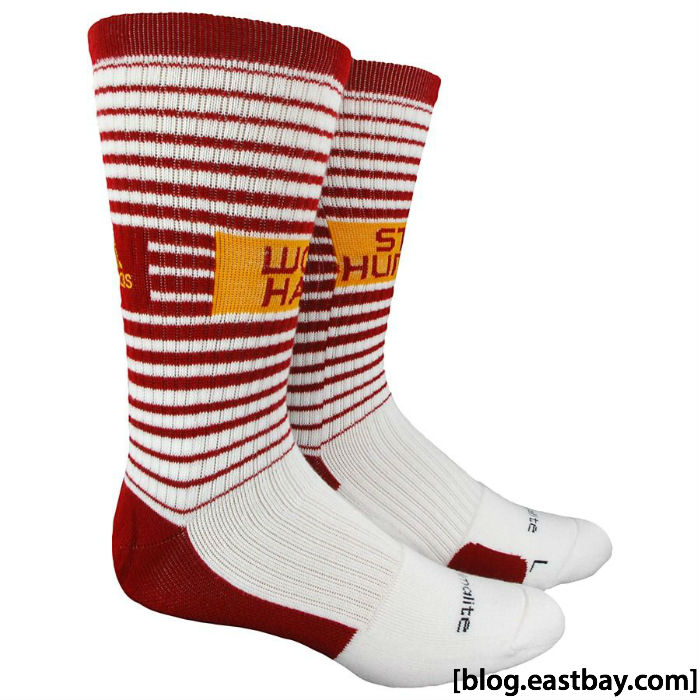adidas RG3 RGIII Work Hard Stay Humble Team Speed Crew Socks White Cardinal