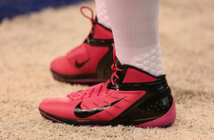 B.J. Raji wearing Nike Alpha Talon Elite Pink