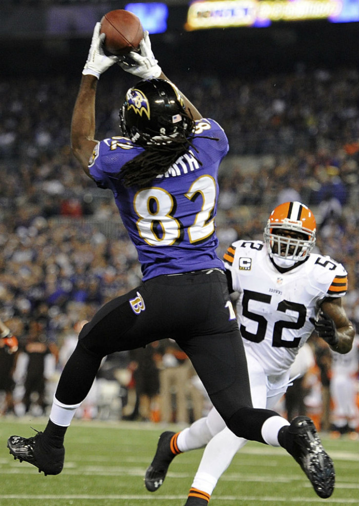 Torrey Smith wearing Under Armour Nitro Diablo