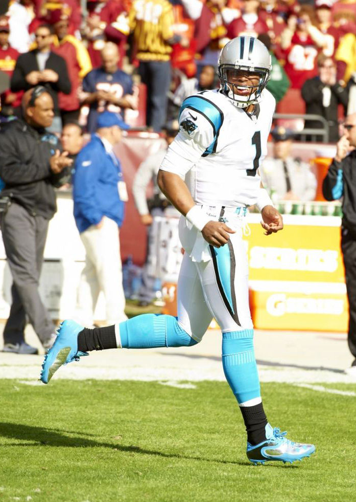Cam Newton wearing Under Armour Cam Highlight Low