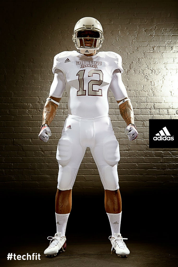 Mississippi State Bulldogs adidas Snow Bowl TECHFIT Uniforms (1)