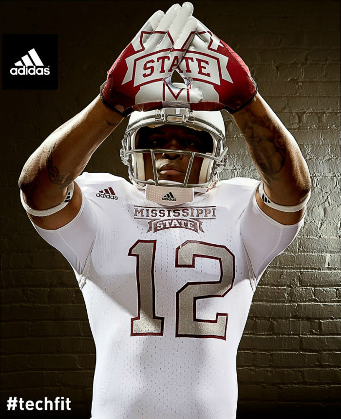 Mississippi State Bulldogs adidas Snow Bowl TECHFIT Uniforms (3)