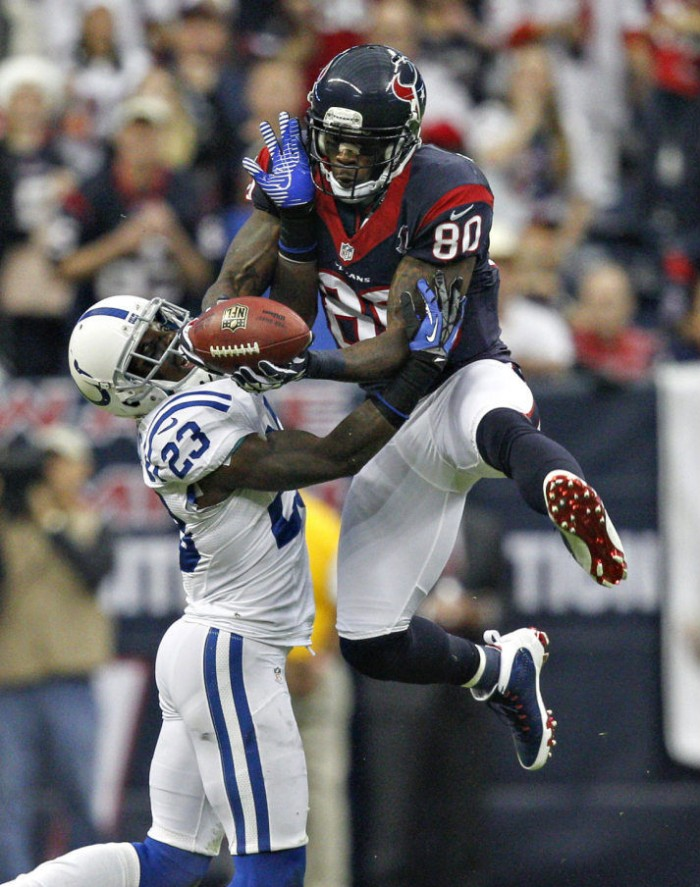 Andre Johnson wearing Air Jordan IX 9 PE Cleats