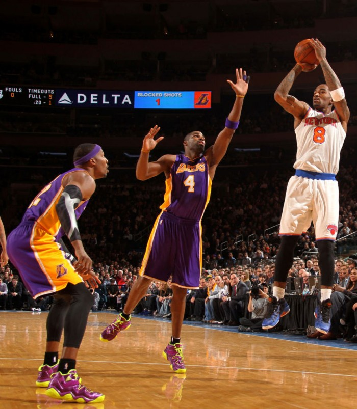 J.R. Smith wearing Jordan Melo M8 Advance; Dwight Howard & Antawn Jamison wearing adidas Top Ten 2000 Bright Lights, Big City LA