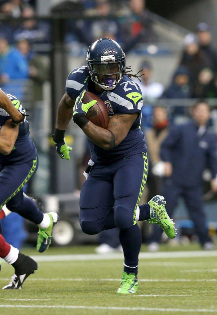 Marshawn Lynch wearing Nike Vapor Talon Elite 3/4