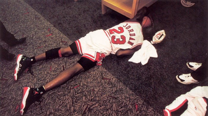 Michael Jordan wearing Air Jordan XI 11 Black Red 1996 NBA Finals