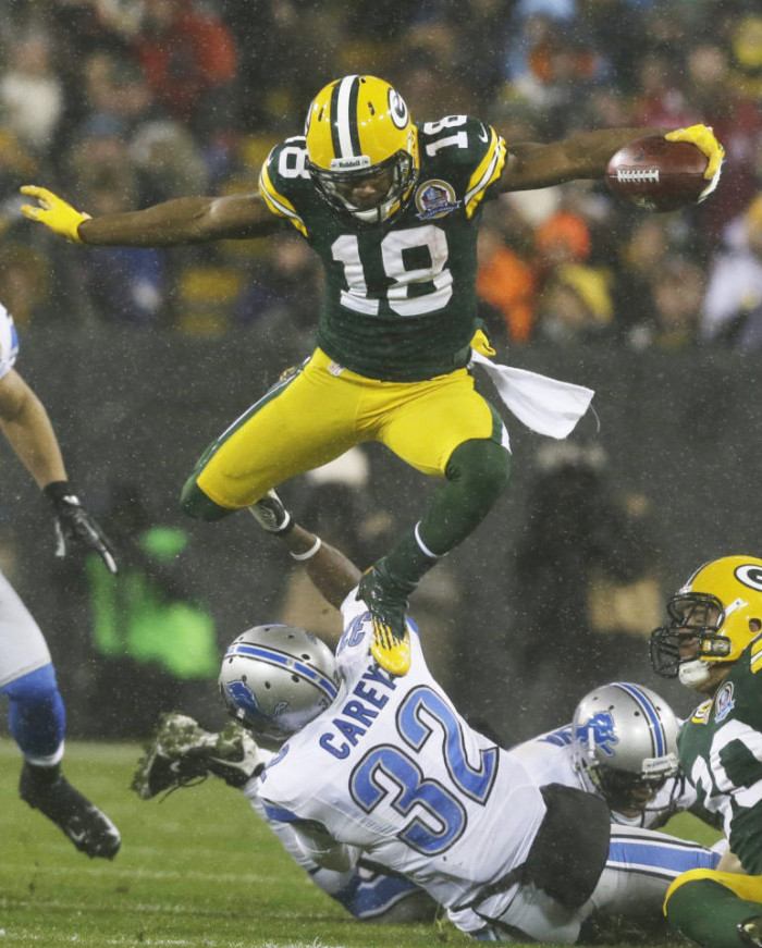 Randall Cobb wearing Under Armour Nitro Diablo