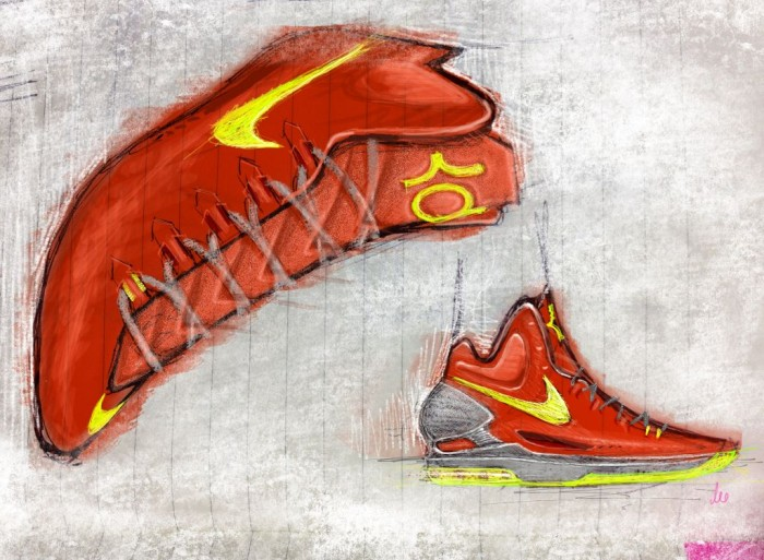 Nike KD V Maryland 554988-610 Leo Chang Sketch