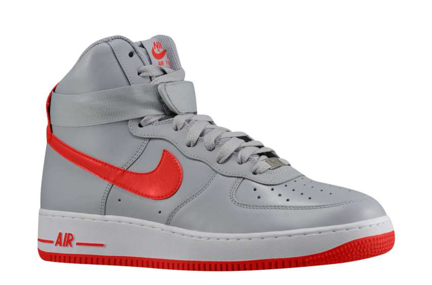 detailed look 2ee04 d11e0 Nike Air Force 1 High - Wolf Grey/Hyper Red | Eastbay Blog ...