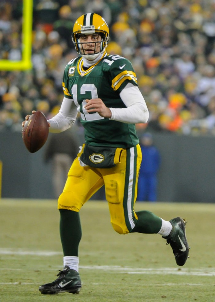 Aaron Rodgers wearing Nike Alpha Talon Elite 3/4
