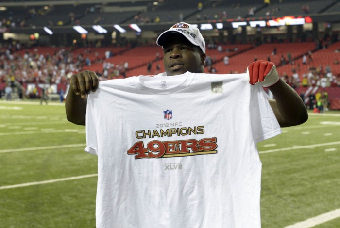 Frank Gore Holding Nike NFL Conference Champ T-Shirt