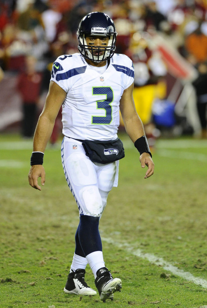 Russell Wilson wearing Nike Superbad Strike