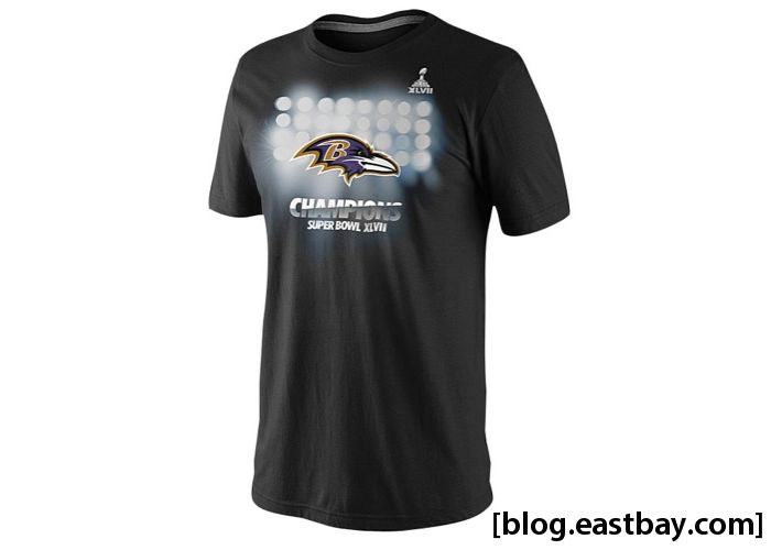 Nike NFL Super Bowl Celebration T-Shirt Baltimore Ravens Stadium Lights