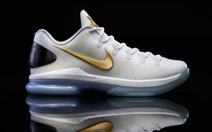 Nike KD V Elite White Metallic Gold Black Pure Platinum  585385-100 (1)