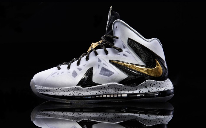 Nike LeBron X PS Elite+ - White/Metallic Gold-Black ...