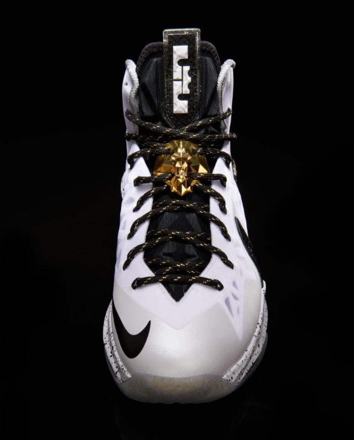 Nike LeBron X PS Elite+ White Metallic Gold Black 579834-100 (2)