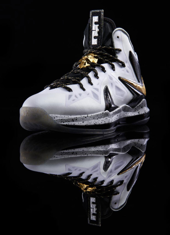 Nike LeBron X PS Elite+ White Metallic Gold Black 579834-100 (3)
