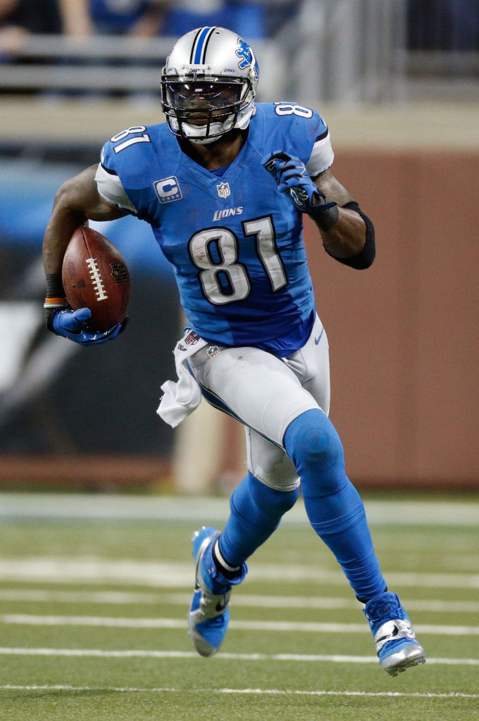 Calvin Johnson wearing Nike CJ81 Elite TD Battle Blue