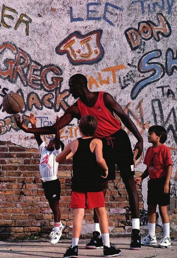 Michael Jordan wearing Air Jordan IV in 1989 Catalog