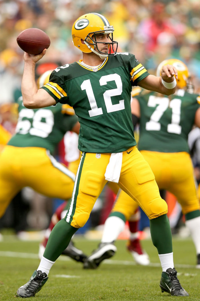 Aaron Rodgers wearing Nike Air Zoom Alpha Talon