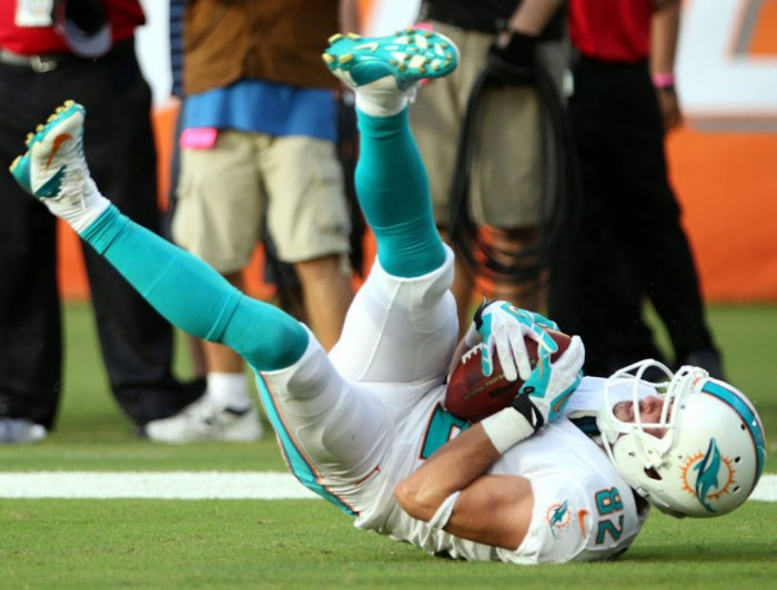 Brian Hartline wearing Nike Vapor Pro Low TD Dolphins