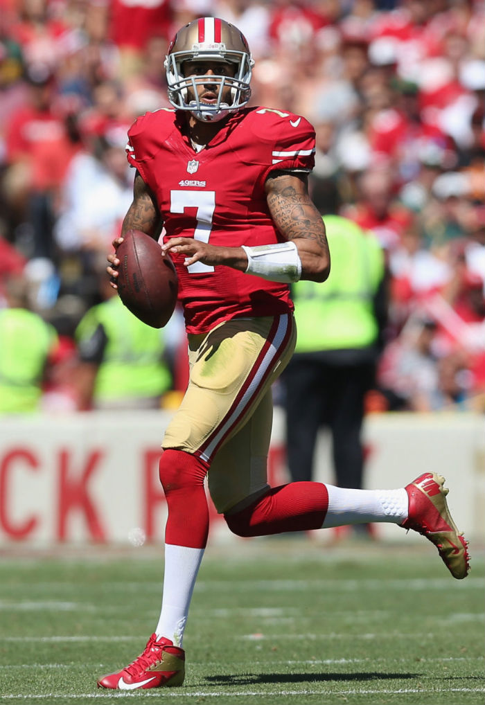 Colin Kaepernick wearing Nike Vapor Talon Elite 3/4