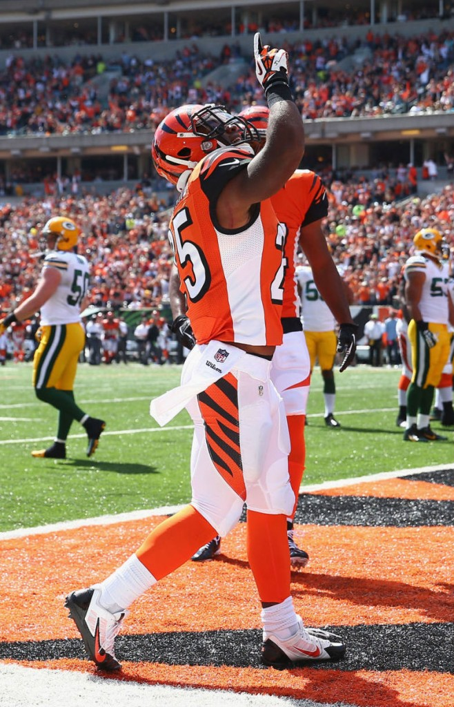 Giovani Bernard wearing Nike Alpha Pro Low TD