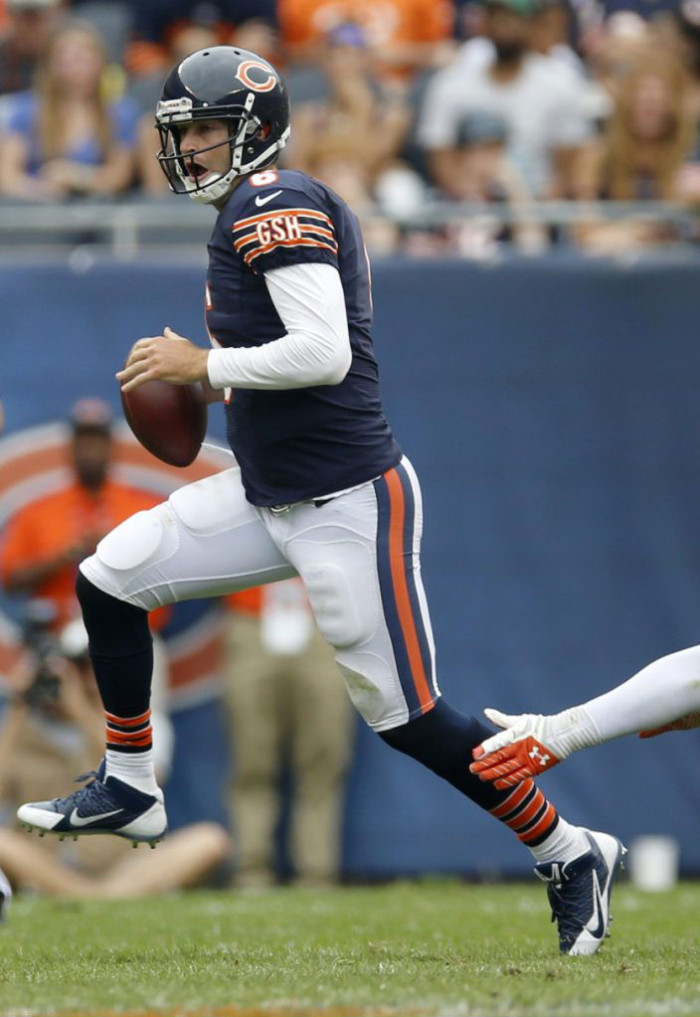 Jay Cutler wearing Nike Alpha Pro Low TD
