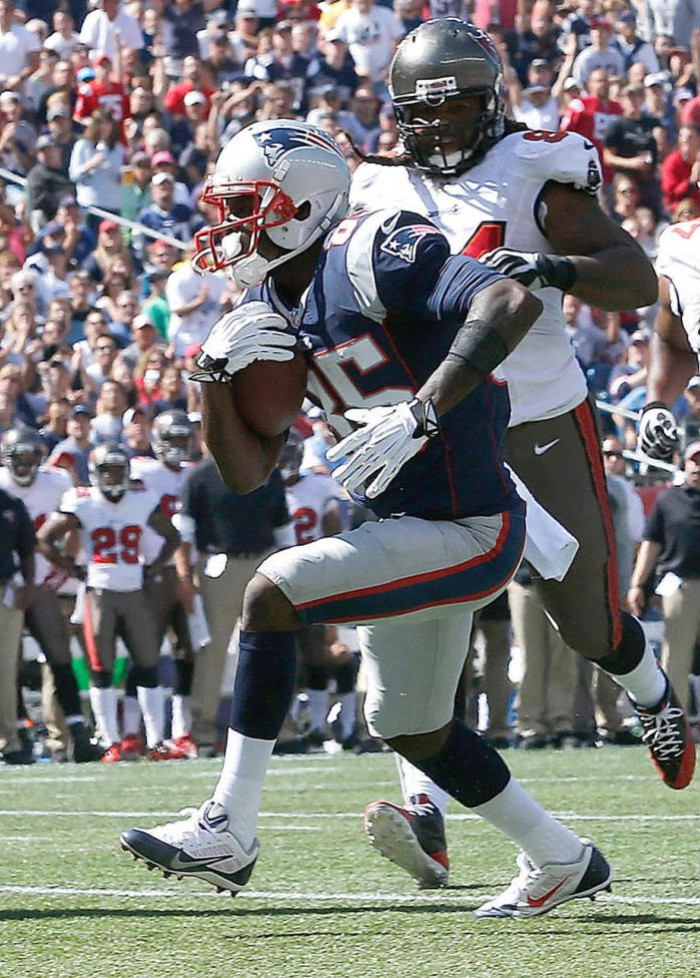 Kenbrell Thompkins wearing Nike Alpha Pro Low TD Patriots