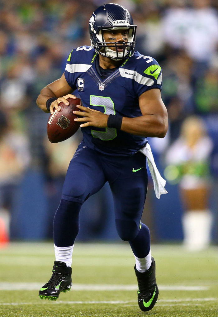 outlet store b5ca6 18884 ... Russell Wilson wearing Nike Lunar Super Bad Pro TD PE ...