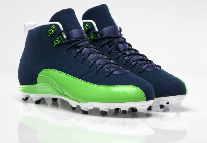 Air Jordan 12 XII PE Cleats Earl Thomas Blue/Green
