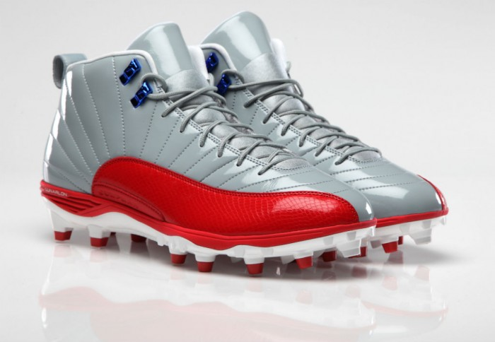 Air Jordan 12 XII PE Cleats Hakeem Nicks Grey/Red