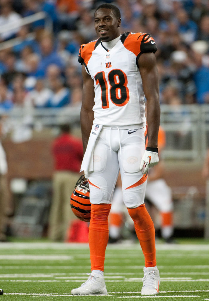 A.J. Green wearing Nike Alpha Pro 3/4 White/Orange