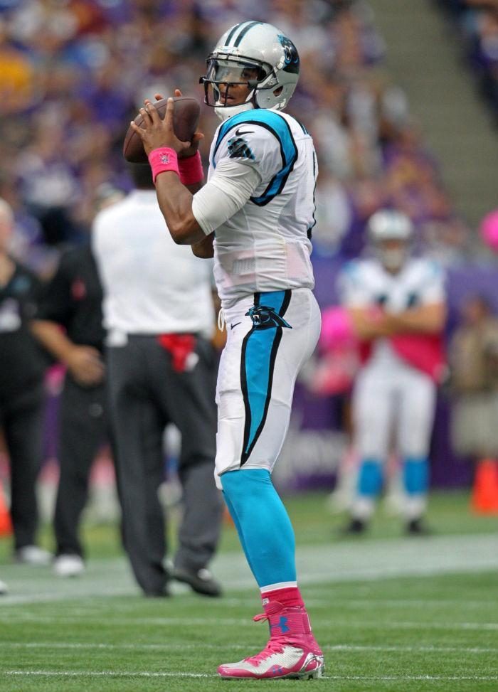 Cam Newton wearing Under Armour Highlight 2014