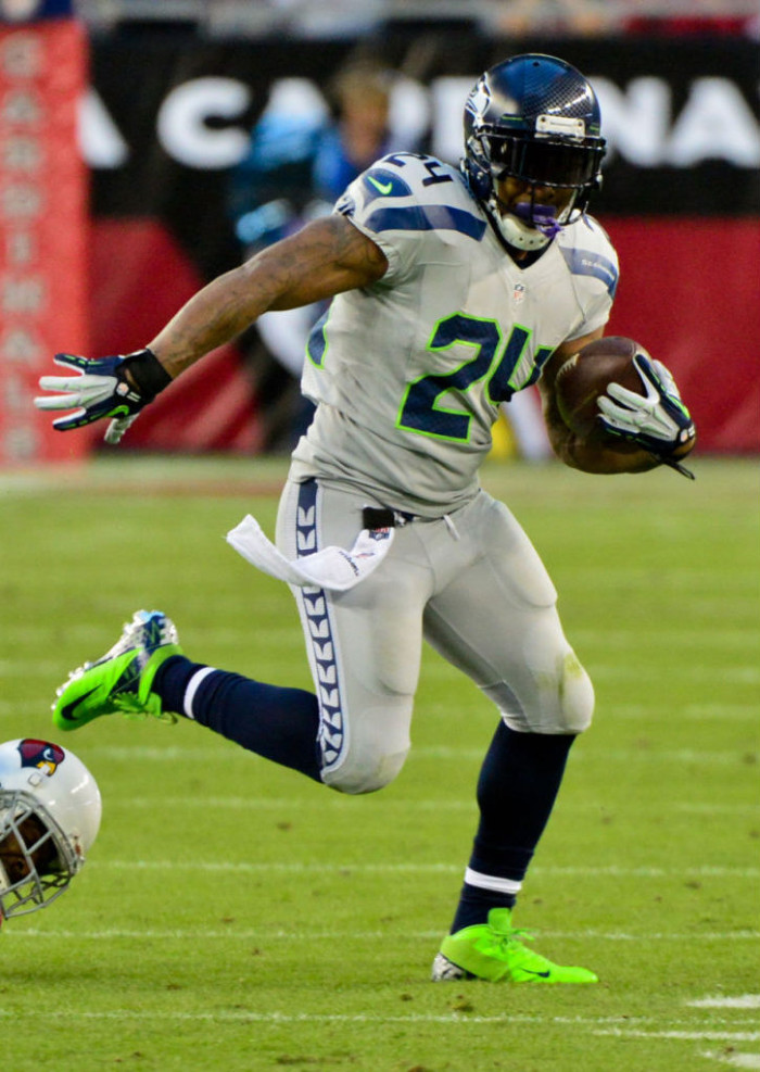 Marshawn Lynch wearing Nike Vapor Pro 3/4 PE