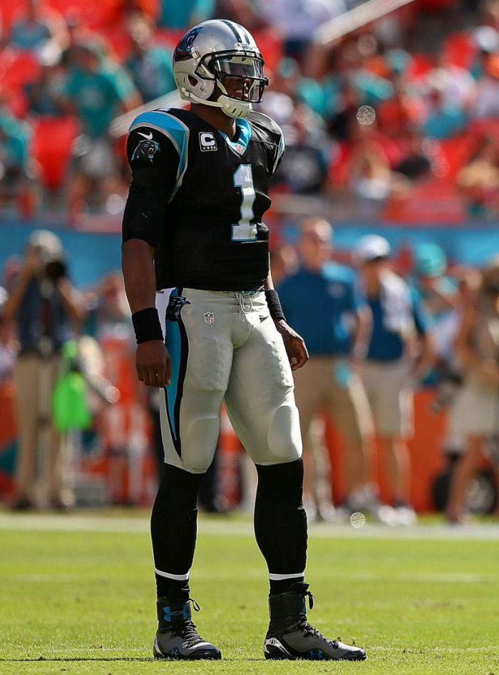 Cam Newton wearing Under Armour Highlight '14 Grey/Black