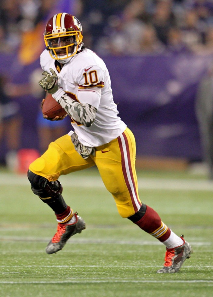 Robert Griffin IIII wearing adidas RG III Veteran's Day