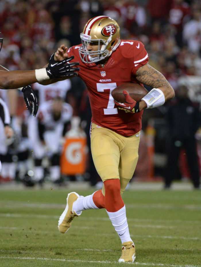 Colin Kaepernick wearing Air Jordan 12 PE Cleats