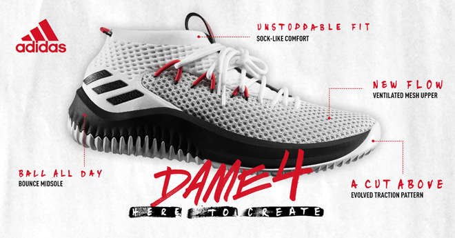 98fdc4e895719 Breaking Down The Brand New Adidas Dame 4 Shoes   Eastbay Blog