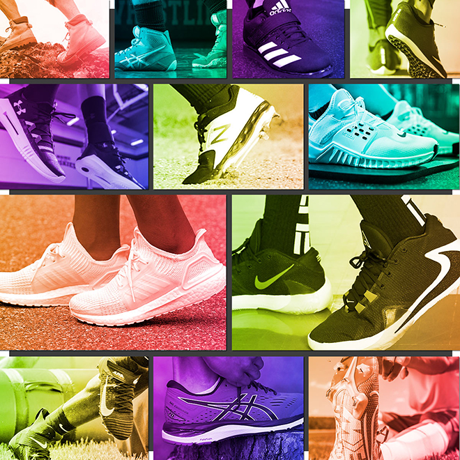 Bright colored pictures of performance shoes for all different types of activities.