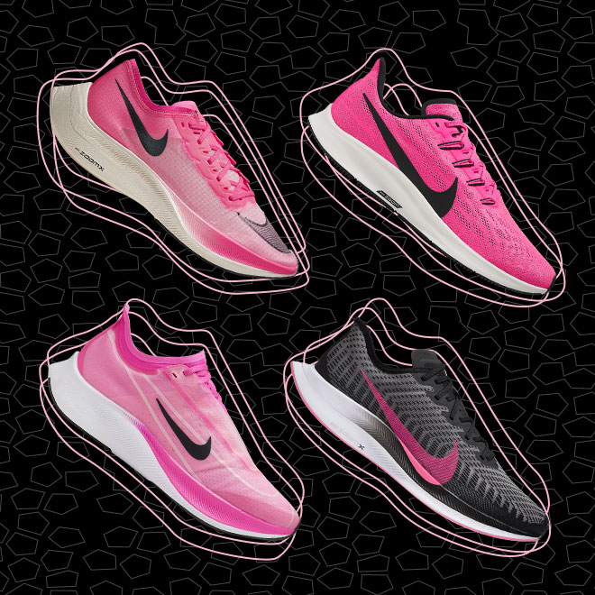 Four shoes from the Nike Zoom family are displayed on a black background. These shoes feature a black and pink colorway.