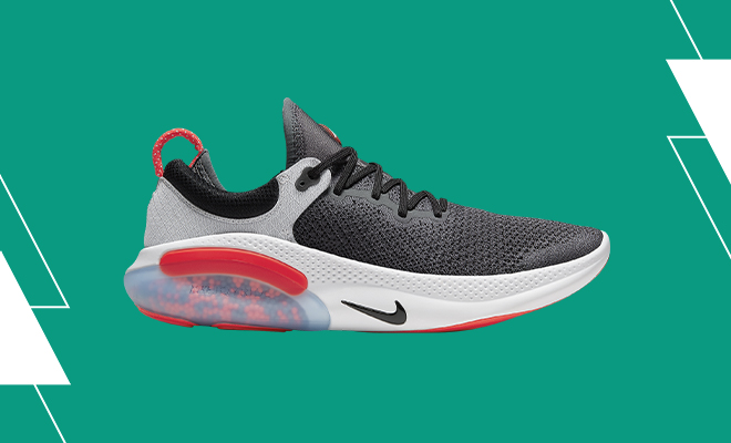 Nike Joyride Run Flyknit shoe in Dark Grey, Bright Crimson, Pure Platinum colorway.