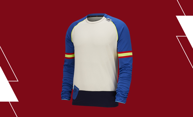 Men's Nike Wild Run Midlayer Long-Sleeve Top in Pale Ivory/Game Royal/Black colorway.