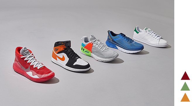 A lineup of different shoe types including Nike Zoom KD 12, Jordan AJ 1 Mid, Under Armour Hovr Apex, HOKA ONE ONE Arahi 3 and adidas Originals Stan Smith.