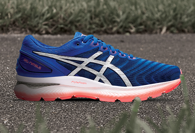 Men's ASICS GEL-Nimbus 22 in the Tuna Blue/Pure Silver colorway.